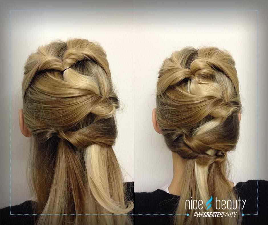 7108f3a0 Step 5: Sådan fortsætter du hele håret igennem. Tag altid det yderste hår  og sæt så elastikken i hver sin side, så det giver et zig-zag mønster, ...