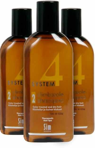 3 x System 4 Mild Shampoo #2 Color Treated and Dry Hair 100 ml.
