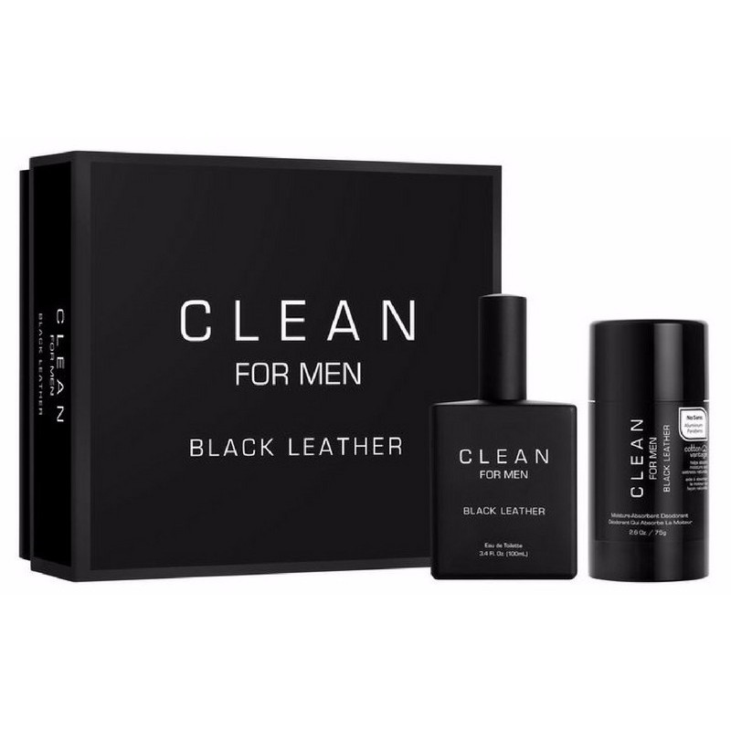 Foto van Clean Perfume For Men Black Leather Gaveaeske U