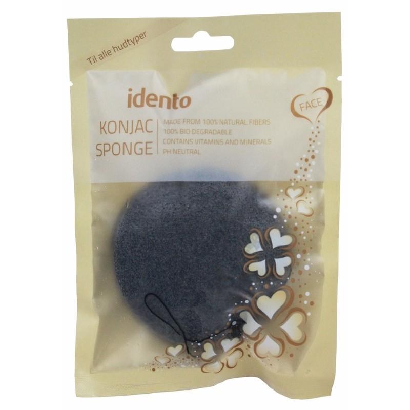 Idento konjac sponge face bamboo charcoal - halfball fra Idento på nicehair.dk