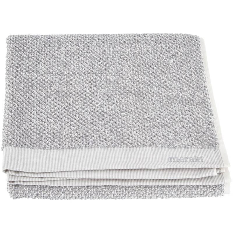 Meraki Handdoek Set van 2 Wit-Grijs 50 x 100 cm