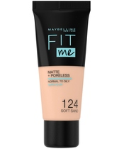 Maybelline Fit Me Matte + Poreless Foundation Normal To Oily 30 ml - 124 Soft Sand