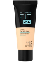 Maybelline Fit Me Matte + Poreless Foundation Normal To Oily 30 ml - 112 Soft Beige