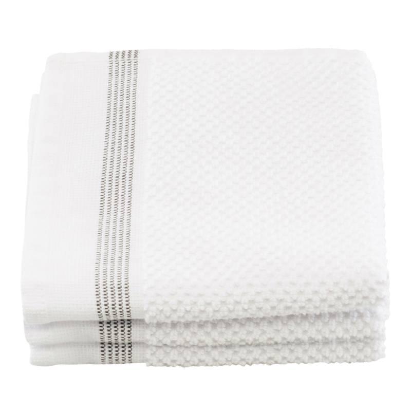 Meraki Wash Cloth White W. Grey Stripes 30 x 30 cm - 3 Pieces thumbnail