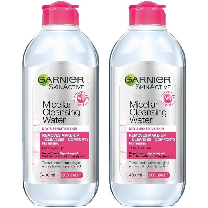 2 x Garnier Skinactive Cleansing Micellar Water Dry & Sensitive Skin 400 ml thumbnail